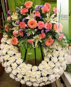 Corona de claveles funeral