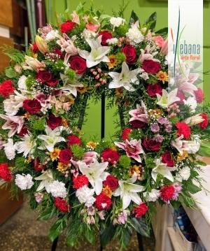 Corona flor variada funeral