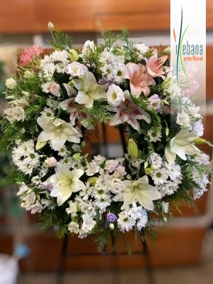 Corona flor variada funeraria