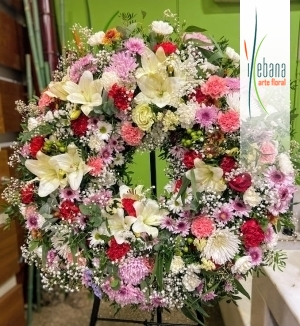 Corona rosas rojas funeral