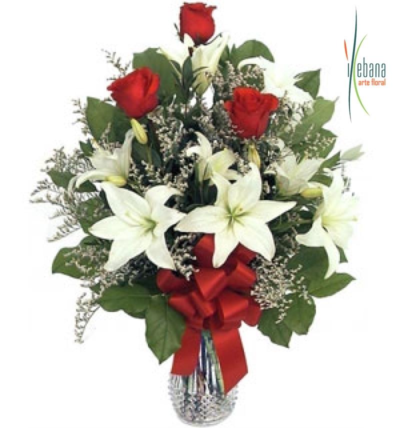 Ramo de rosas y lilium funeral